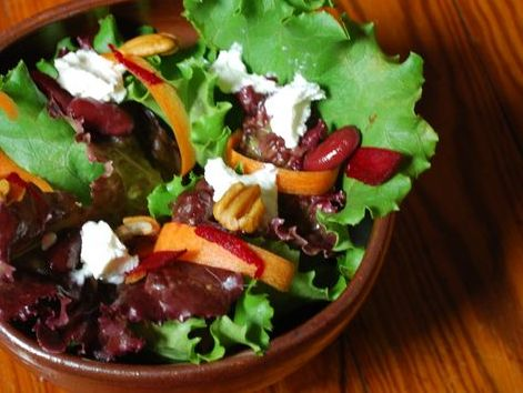 March Beet, Carrot, and Goat Cheese Salad ~