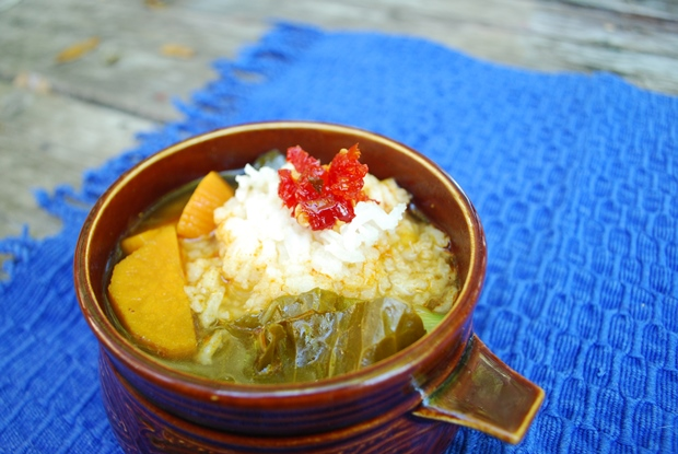 African Greens and Yam Soup